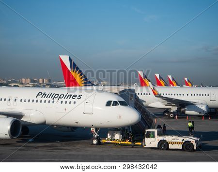 Manila, The Philippines - March 28, 2019: Airbus A320 And A321 Airliners From Philippine Airlines At