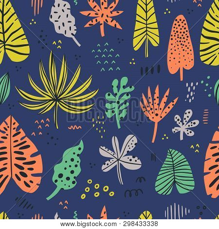 Hawaii Color Hand Drawn Seamless Pattern. Tropical, Exotic Plant. Scandinavian Style Backdrop. Styli