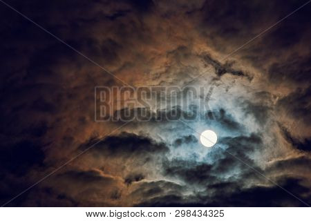 Full Moon And Cloudy Sky, Mysterious Night Atmosphere, Fantasy And Mysterious Moonlight Concept, Cop