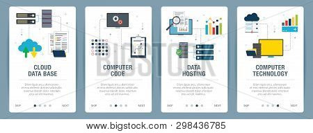 Vector Set Of Vertical Web Banners With Cloud Data Base, Computer Code, Data Hosting And Computer Te