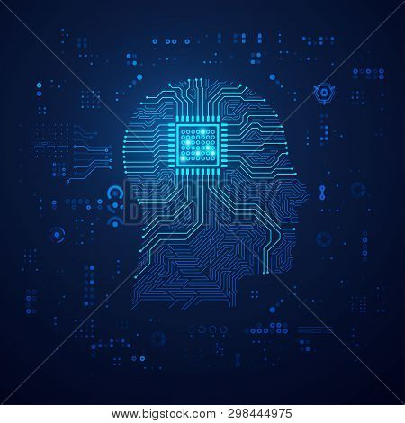 Concept Of Artificial Intelligence Or Ai Technology, Shape Of Human Head Combined With Electronic Bo