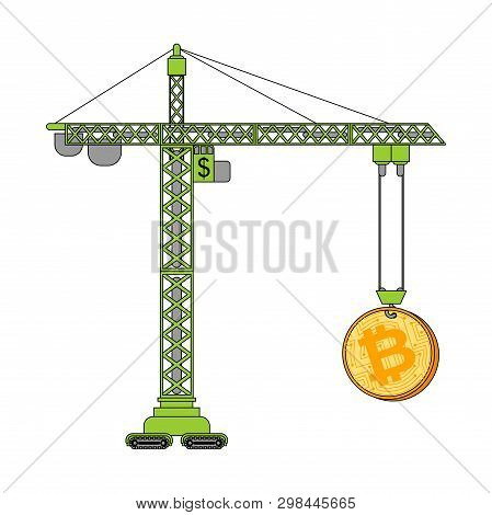 Bitcoin Price Rising Lifting Crane Uplift. Cryptocurrency Price Increase. Business Concept In Crypto