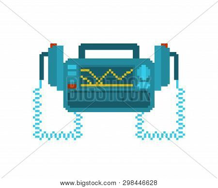 Defibrillator Pixel Art. Medical Device Pixelated. Electropulse Therapy Of Heart Rhythm Disorders. O