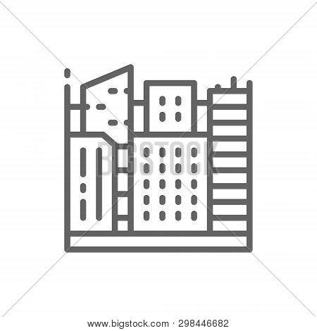 Vector Big City, Megapolis Landscape Line Icon.