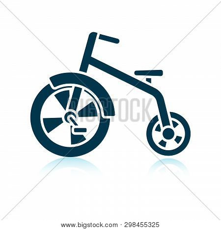 Baby Trike Icon. Shadow Reflection Design. Vector Illustration.