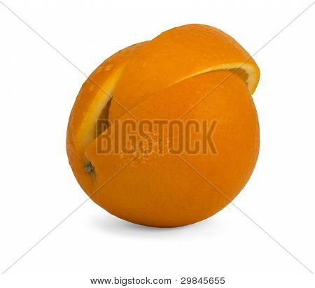 The Cut Orange With The Segment Inserted Into It.