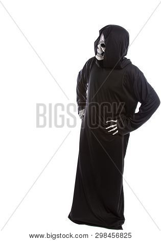 Person Dressed In Grim Reaper Or Death Ghost Halloween Costume Looking Confused Or Undecided