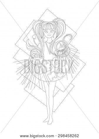 Cute Cartoon Outline Vector Illustration For Coloring Page. Cute Witch Girl, Doing Magic With Words