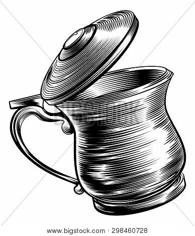 An Illustration Of A Traditional Beer Stein Or Tankard In A Woodcut Style