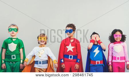 Superhero kids with superpowers together
