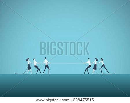 Business Competition Vector Concept With Teams In Tug Of War Pulling Rope. Symbol Of Competitive Fig