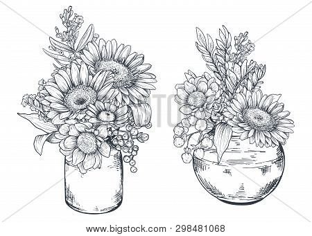 Bouquets With Hand Drawn Flowers And Plants In Vases Jars.