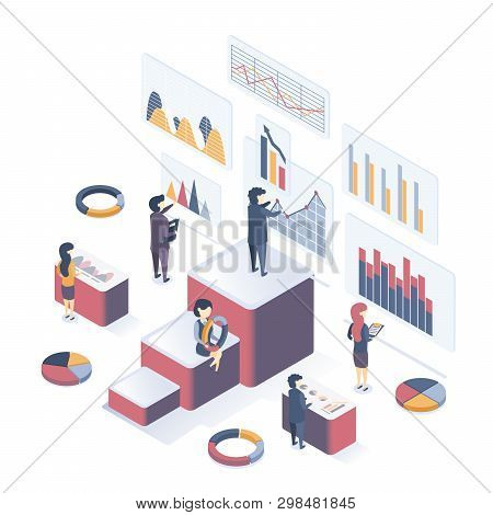 Isometric Vector Illustration. Сoncept Of Data Analysis. People Collect Data, Analyze Graphs, Analyz