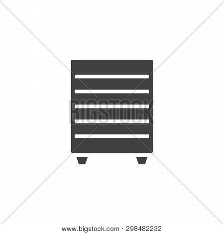 Chest of drawers vector icon. filled flat sign for mobile concept and web design. Bedside dresser, commode glyph icon. Symbol, logo illustration. Pixel perfect vector graphics poster