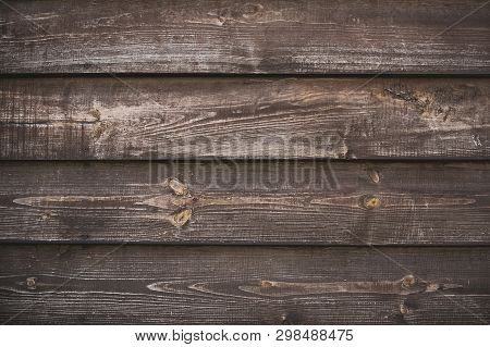 Wooden Brown Surface. Rustic Background. Empty Plank Wooden Wall Texture Background. Interior Detail