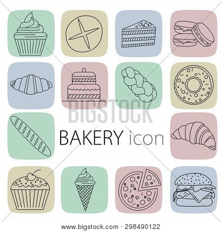 Set Of Construction Bakery Shop Icons. Outline Style. Thin Line Web Icon Set. Includes Badges Such A