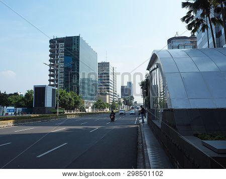 Jakarta, Indonesia - April 17, 2019: The Entrance Gate Of Bundaran Hi Mrt Station On Thamrin Street.