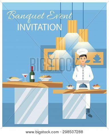 Banquet Event Invitation Flat Vector Illustration. Celebration In Luxury Restaurant. Banquet Hall In