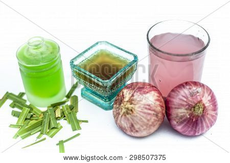 Close up of natural therapy for nourishing and strengthening hair isolated i.e. onion juice well mixed with tea tree oil in a glass bowl with entire raw ingredients in different vessels. poster