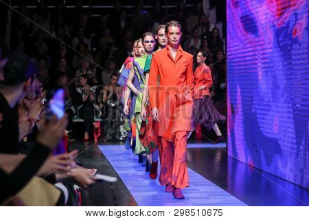 Zagreb, Croatia - March 23, 2019: Fashion Models Wearing Branka Donassy Fashion Collection On The Ca
