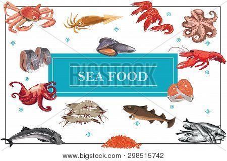 Flat Seafood Colorful Concept With Crab Octopus King Prawns Shrimps Carp Sturgeon Fish Caviar Herrin