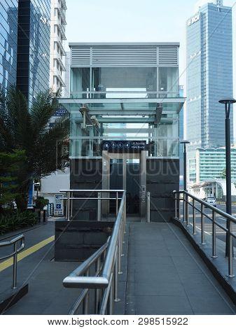 Jakarta, Indonesia - April 17, 2019: A Priority Elevator Of Bundaran Hi Mrt Station On Thamrin Stree