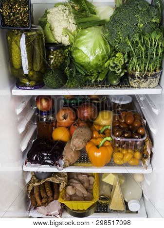 Open Fridge Full Of Fresh Fruits And Vegetables, Healthy Food Background, Organic Nutrition, Health