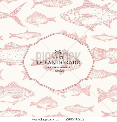 Hand Drawn Vector Seamless Pattern. Fish Package Red Card Or Cover Template With Ocean Dorado Emblem