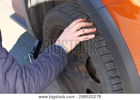 Wheel Balancing Or Repair And Change Car Tire. Automobile Maintenance Concept.  Car Service. Auto Ty