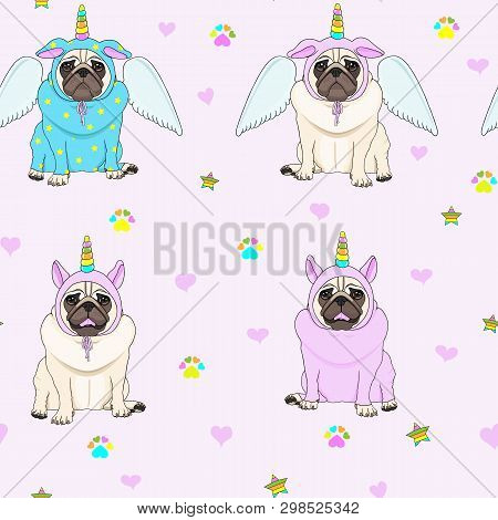 Cute Seamless Pattern With Unicorn Pug Dogs, Paw Print, Stars And Hearts, Transparent Background