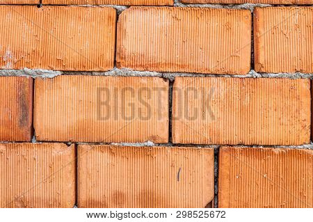 Close Up Of Old Red Brick Wall