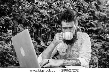 Good Morning Virtual World. Hipster Enjoying Coffee And Free Wifi In Morning. Bearded Man Drinking M