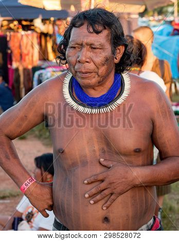 Brasilia, Brazil-april 25th 2019:  Indigenous Indians From All Over Brazil, Descend Upon The Capital