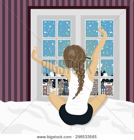 Woman Stretching In Bed After Wake Up. Concept For Holidays And Vacations. Winter Scenery. Flat Vect