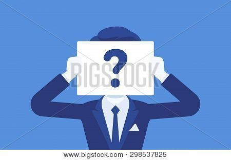 Anonymous Man With Question Mark. Male Person Not Identified By Name, Unknown User, Incognito Profil