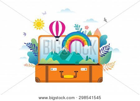 Travel, Tourism, Adventure Scene With Open Suitcase, Leaves, Rainbow And Miniature People, Modern Fl