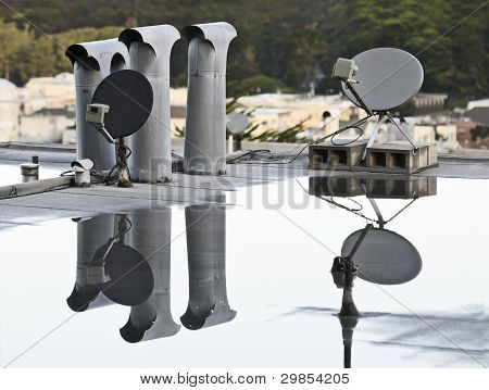 Dish Antennae on Roof Top