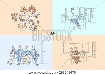 Hr Agency Searching Workers, Candidates Waiting For Job Interview, Business Meeting, Employer Hiring