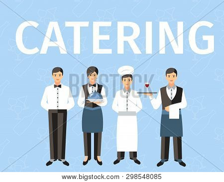 Catering Service Personnel Word Concept Banner. Waiters, Chef Cook With Plate And Tray. Dining Room