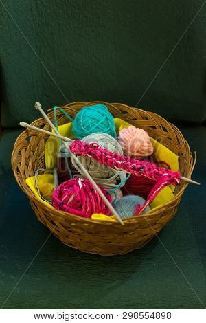 A Top View Image Of Crochet Yarn And Hook On A Sofa. Home, Old Times, Texture.