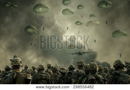 Helicopter And Forces In Destroyed City With Forces Parachuting In Sky