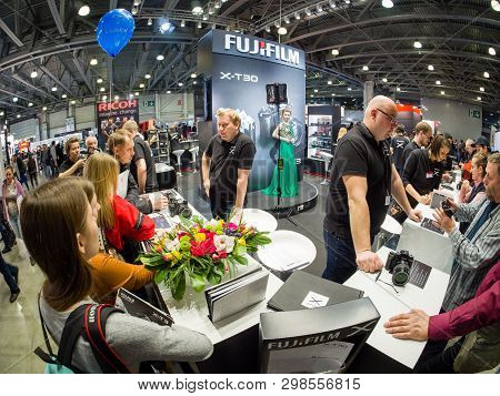 Moscow, Russia - April 11, 2019: Booth Of Fujifilm Company At Photoforum 2019 Trade Show And Exhibit