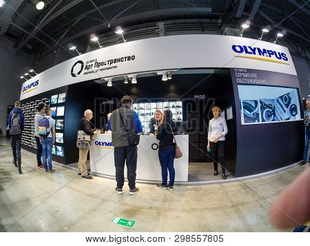 Moscow, Russia - April 11, 2019: Art Space Booth Of Olympus Company At Photoforum 2019 Trade Show An