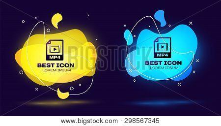 Black Mp4 File Document Icon. Download Mp4 Button Icon Isolated. Mp4 File Symbol. Set Of Liquid Colo