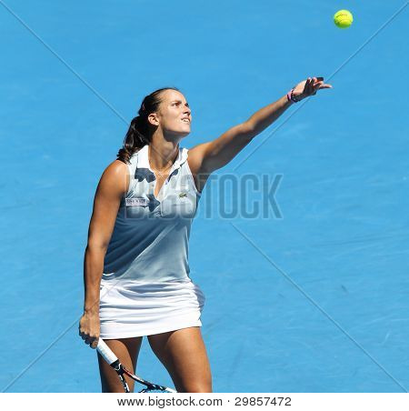 MELBOURNE - JANUARY 17: Jamila Gajdosova of Australia in her first round loss to Maria Kirilenko of Russia at the 2012 Australian Open on January 17, 2012 in Melbourne, Australia.