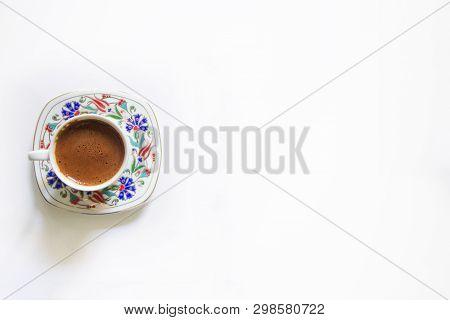 Isolated Turkish Coffee, Cup Of Turkish Coffee, Traditional Coffee, White Background, Turkish Coffee