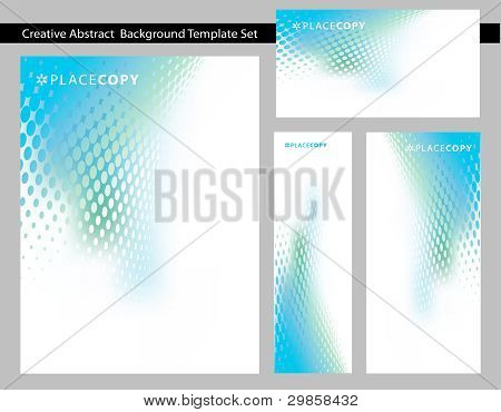 Abstract Blue Green Dot Swirl Background Template Set