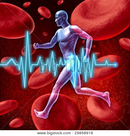 Human cardiovascular circulation represented by a running human with a background of red blood cells flowing through an artery showing the concept of the medical circulatory system that is well oxygenated. poster