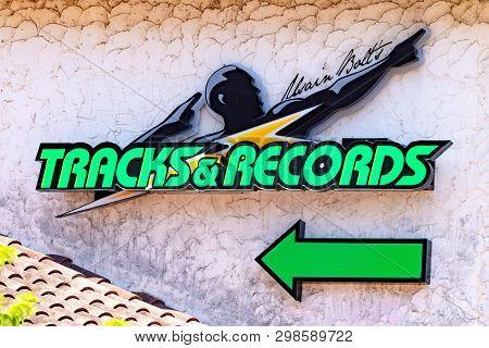 Montego Bay, Jamaica - April 30 2019: Sign For Usain Bolt Tracks & Records Restaurant And Sports Bar