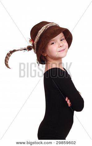 little girl in alpine hat